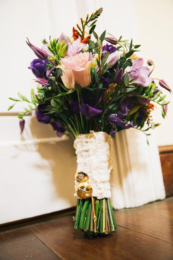 Simple Homemade Green & Purple Wedding Bridal Bouquet  http://www.robdodsworth.co.uk/