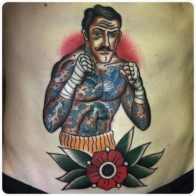 Old school tattoo, classic tattoo, traditional tattoo, олдскул татуировки, тату мастер речной, Boxing tattoo. Boxer tattoo. Bare knuckle tattoo. Боксер тату. Tattoo by Dmitry Rechnoy (Re4noy). XKtattoo studio. http://www.xktattoo.ru