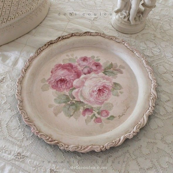 Romantic Roses Vintage Tray - Debi Coules Romantic Art