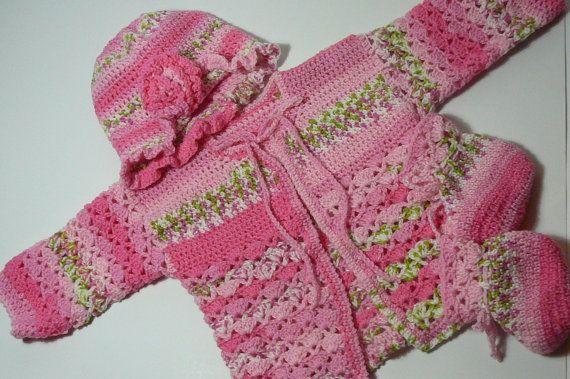 Newborn Girl Jacket Hat Booties Crochet         by fashionablekids, $55.00