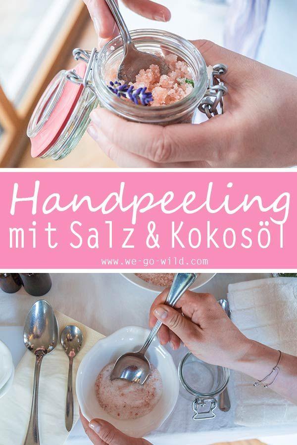 Handpeeling mit Kokosöl und Meersalz für trockene Hände
