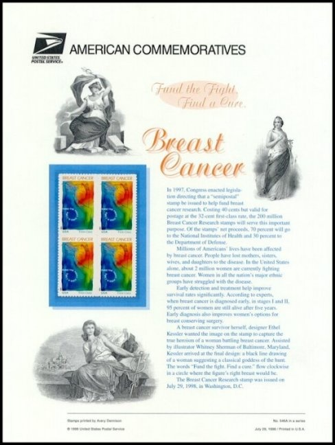 This is a Commemorative Panel released by the USPS for the Breast Cancer Research Semipostal stamp.  The first Commemorative Panel was issued by the USPS in 1972.  Many people subscribe to these beautiful panels.  This one includes a mint block of four stamps in a protective mount.