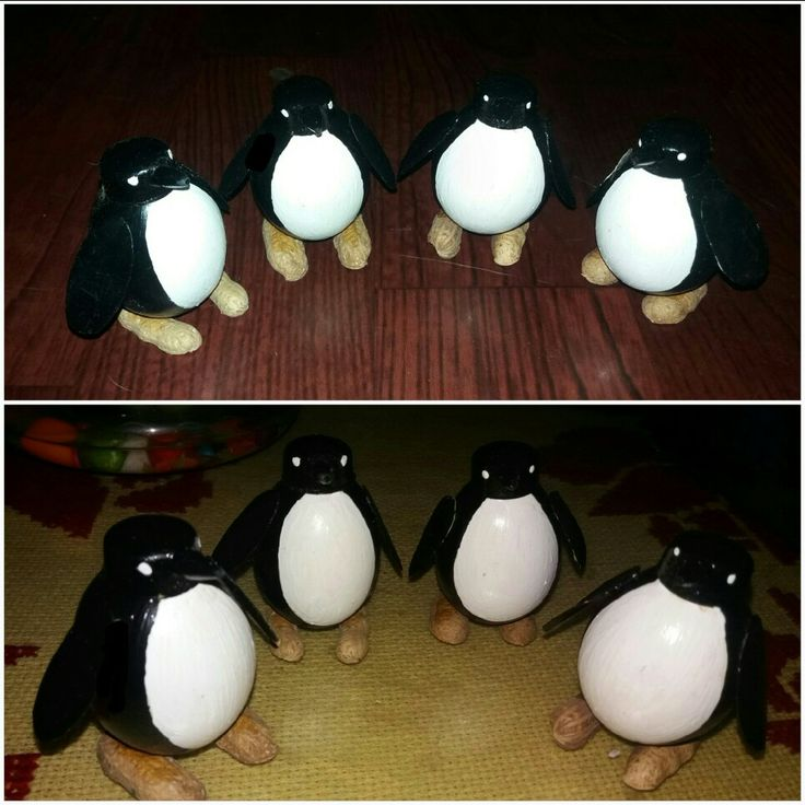 Penguins 🐧🐧🐧🐧 Egg shells are shaped and designed as penguin...feels good when u turn some trash into some art..