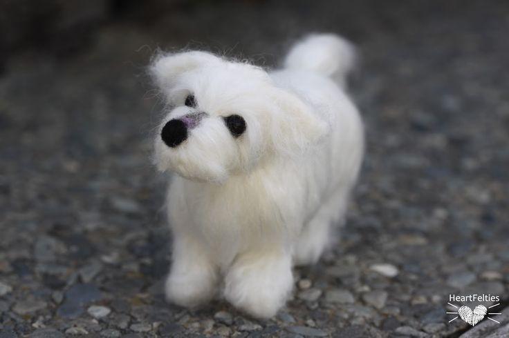HeartFelties: Baby love - needle felted dog Maltese