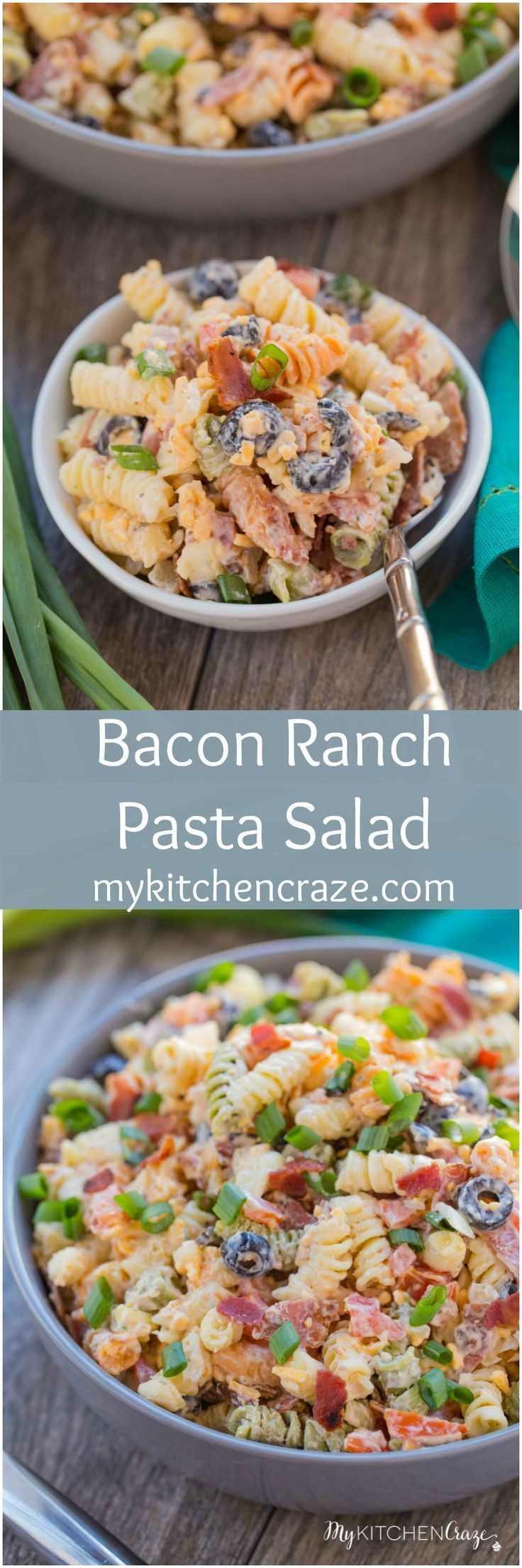 Bacon Ranch Pasta Salad ~ http://mykitchencraze.com ~ Enjoy crispy bacon tossed in a pasta ranch flavored salad. Perfect for a potluck or a special holiday.
