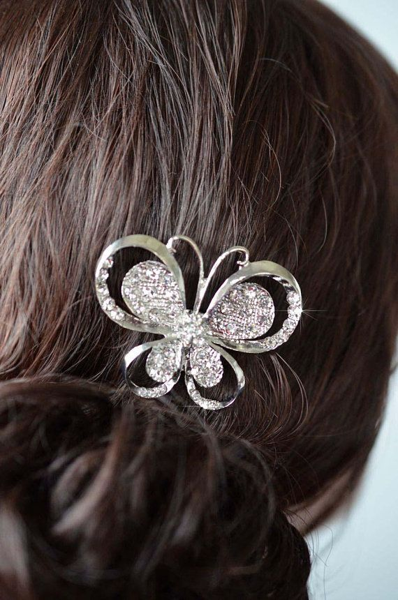 Pretty & Sparkly Clear Crystal Rhinestone Silvertone Butterfly Hair Clip, Bridal, Wedding (Sparkle-2851)