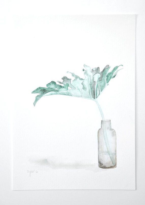 Original monstera leaf - watercolour painting, tropical leaves print, modern still life, green watercolour art, smokey glass, botanical art