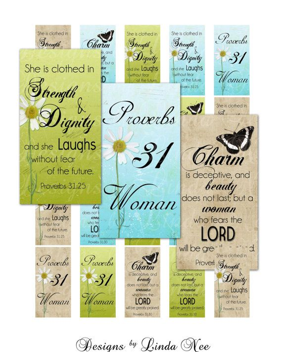 Instant Download - PROVERBS 31 Woman CHRISTian Scripture (.875 x 1.875 Inch) Bamboo Microscope Slide Images Digital Collage Sheet  printable...
