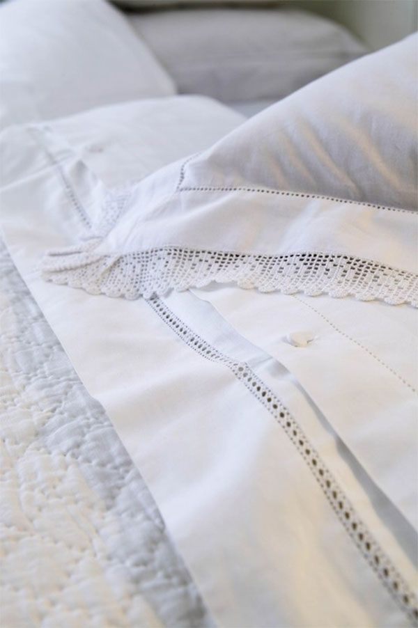 fresh white bed linens