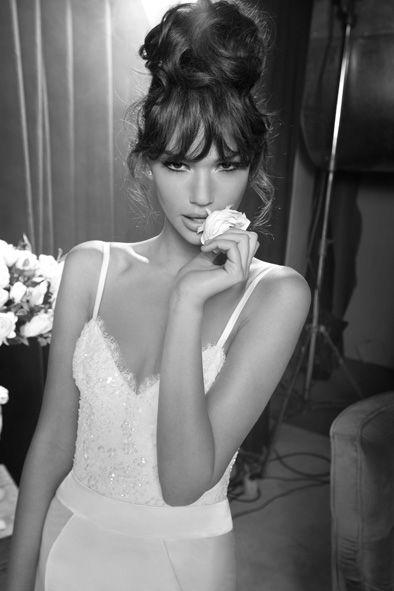 Inbal Dror wedding dress #highbun #bangs #weddinghair #weddingmakeup I LOVE THIS LOOk!!