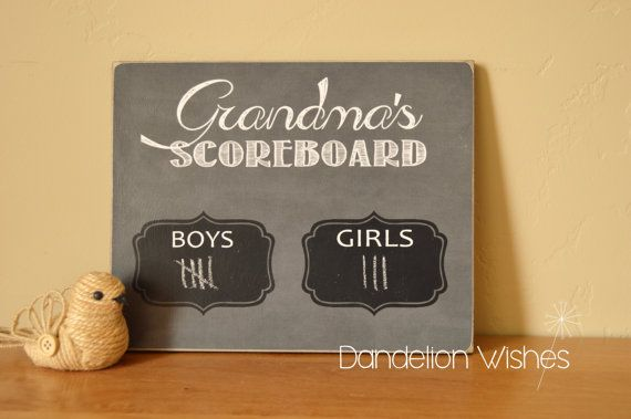 Help Nana (or Mimi, or Grandma) keep track of her precious blessings with this cute NANAS SCOREBOARD chalkboard.  - item can be customized with any name that you would like, if name is not included in drop down menu, select other and include in the notes to seller section - scoreboard reflects GRANDS vs GREATS - color options available in drop down menu  looking for a scoreboard for BOYS vs GIRLS?…