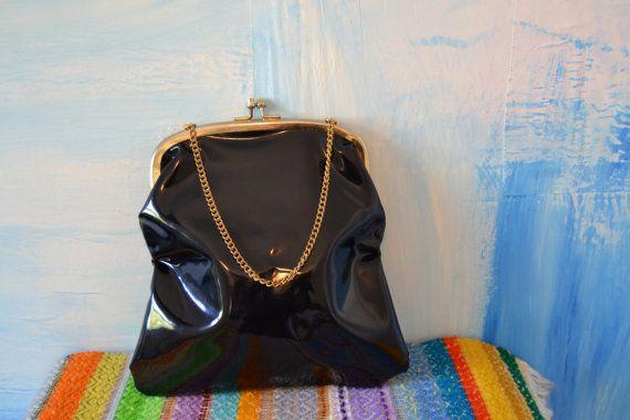 Black Patent Leather Handbag // Brass Chain Handle // Vintage
