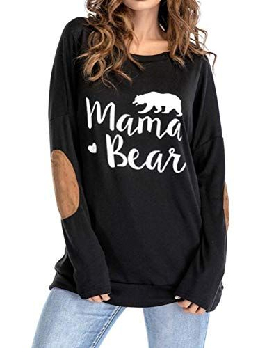 379b9e5ff ZXH Women Casual Mama Bear Letter Printed Round Neck Patchwork Long Sleeve  Shirt Pullover Tops Blouse