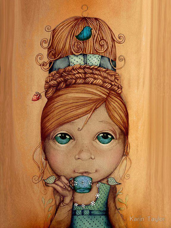 ...illustration: Tea Time, Karintaylor, Hairdos, Illustrations, Taylor Art, Brand, Taylors