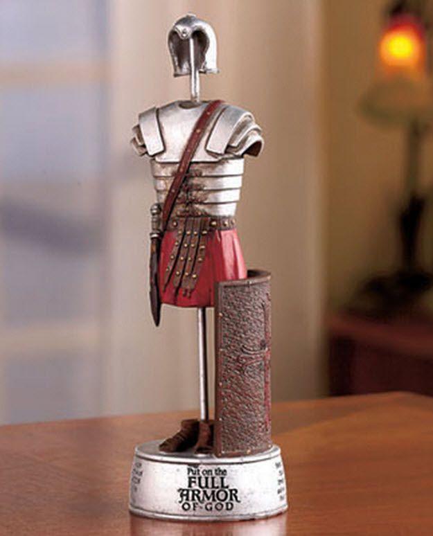 Full armor of god ceramic figurine helmet sword shield for Armor decoration