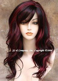 dark hair with red streaks