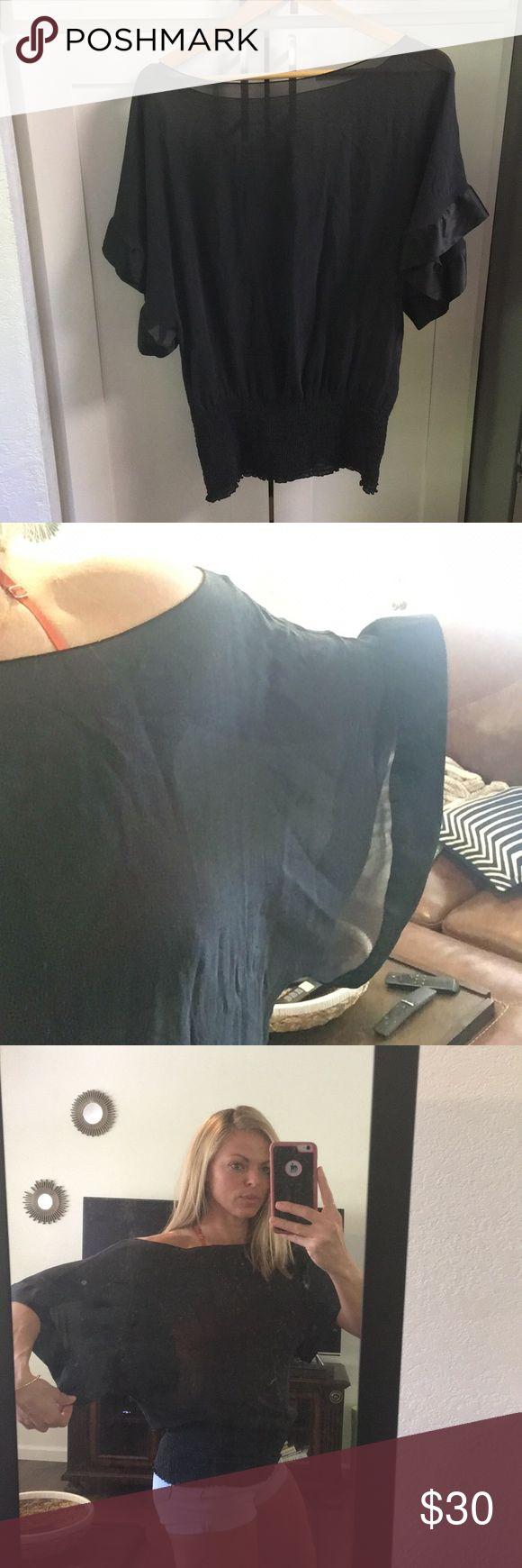 Silk Top • M Sheer silk Top. Bell sleeves. Elastic waist flattens tummy and gives smaller waist elusion. Diane Von Furstenberg Tops Tunics