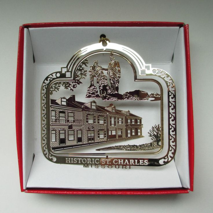 Brass Christmas Ornament Historic St. Charles Missouri Lewis Clark Souvenir Gift