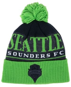 adidas Seattle Sounders Fc Pom Knit - Charcoal/Green Adjustable
