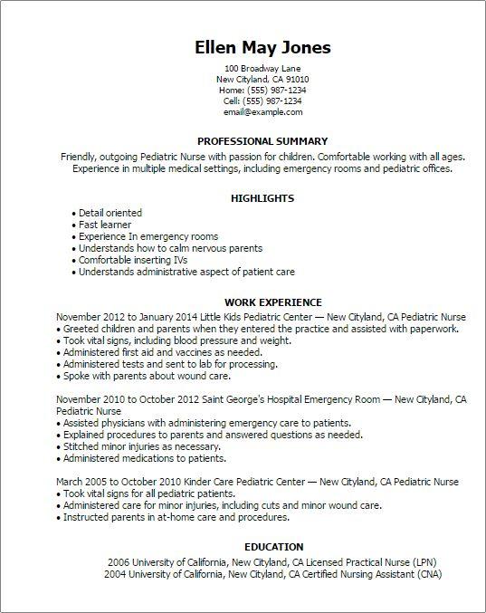 lpn pediatric resume sample