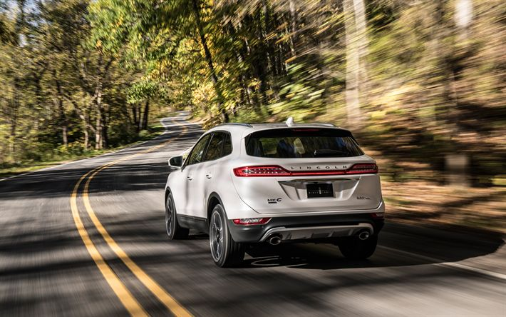 Download wallpapers Lincoln MKC, 2019, 4k, rear view, white crossover, new cars, new MKC, Lincoln