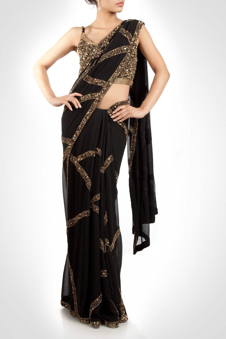 Sari With Gold Sequins Border