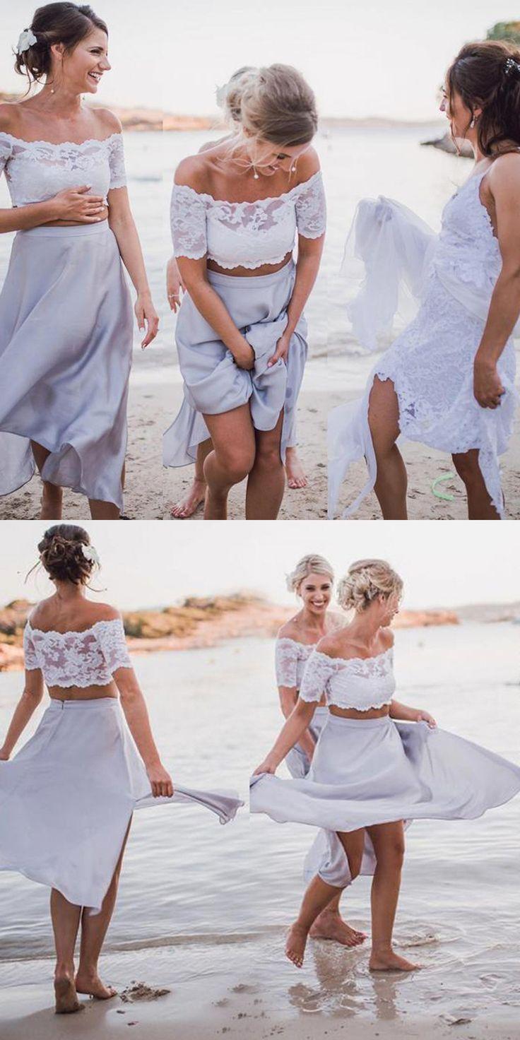 Two Piece Dresses,Off-the-Shoulder Dresses,Light Grey Chiffon Dresses,Bridesmaid Dresses,Lace Dresses,Summer Outfits