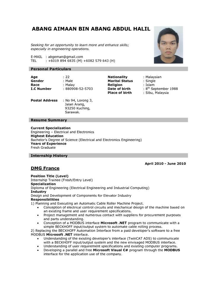 Resume Format Examples For Job Pinterest Sample resume, Apply