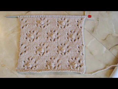 Ажурный узор Цветочки с шишечками Вязание спицами Видеоуроки - YouTube