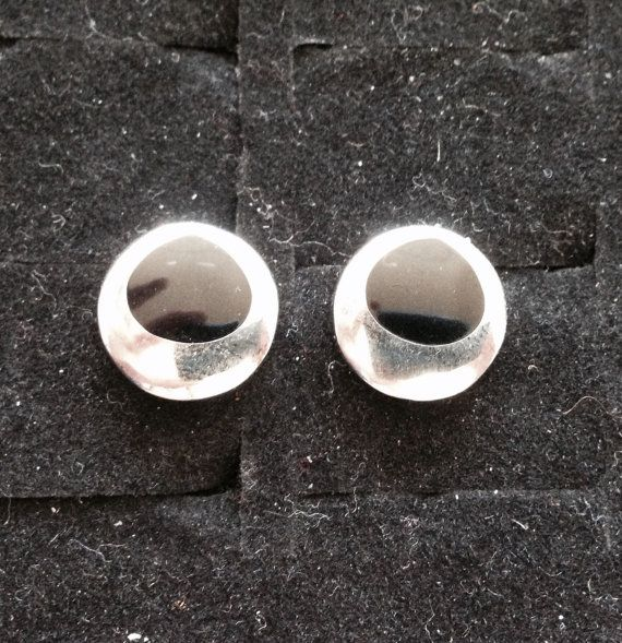 Sterling silver black stone onyx inlay tear by ThreeBearsBrown