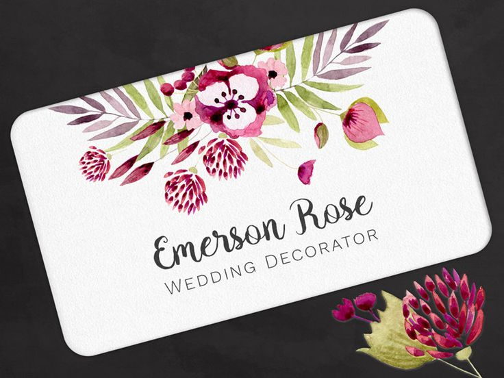 153 best etsy images on pinterest blank business cards business business card red pink watercolor flowers calling contact card by olivinestationery on etsy reheart Images