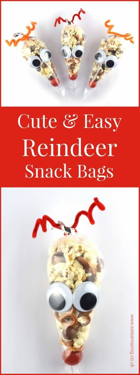 Easy reindeer snack bags recipe and tutorial - a fun Christmas party food idea for kids from Eats Amazing