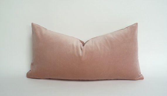 blush velvet pillow case // blush pink velvet cushion case // rectangle blush pillow case