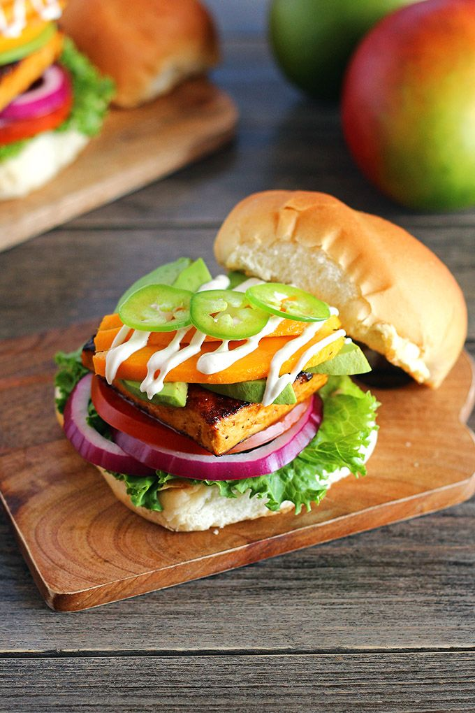 Mango Chili Tofu Burgers with Cashew Crema » ilovevegan.com