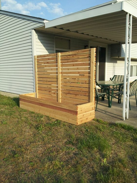 Free standing Screen with Planter - back wall of future patio in back yard and modified, shorter version with fewer slats along driveway