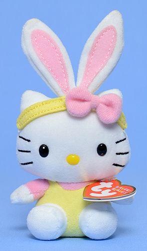 TY Basket Beanies Hello Kitty 6 inch Pink Ears~