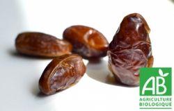 Datte Deglet Nour non-branchées certifiées Agriculture Biologique.  Ramassées manuellement et récoltées à maturité.  Naturellement riches en fibres, calcium et fer.     Sachet de 400 grammes. Catégorie I.   Origine : Tunisie.