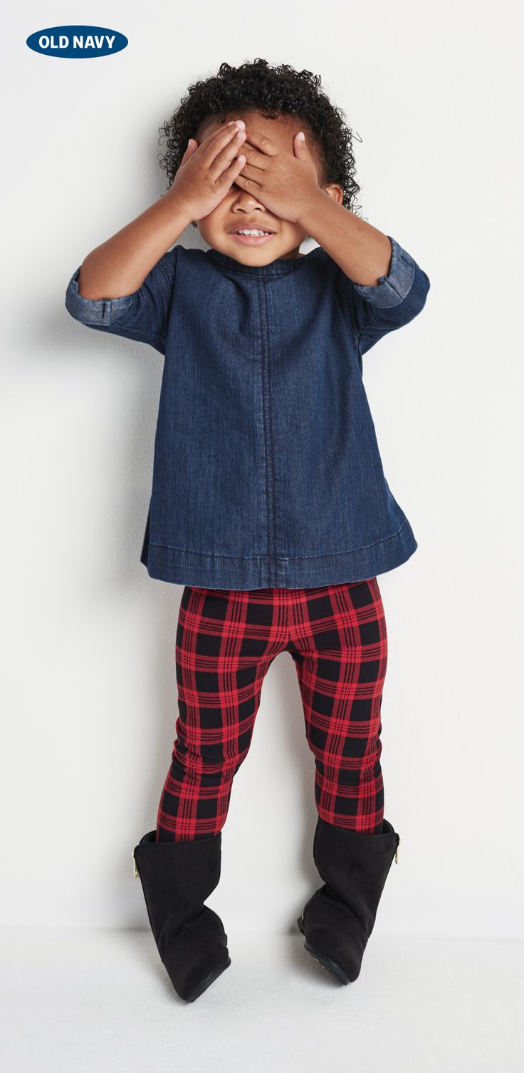 We love these plaid leggings and a denim shirtdress from Old Navy! #GiftOfStyle