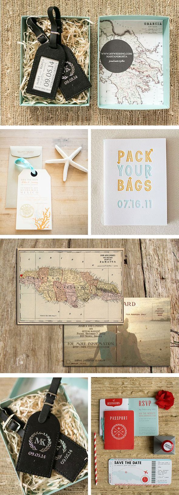 Destination wedding save the dates - love these ideas!