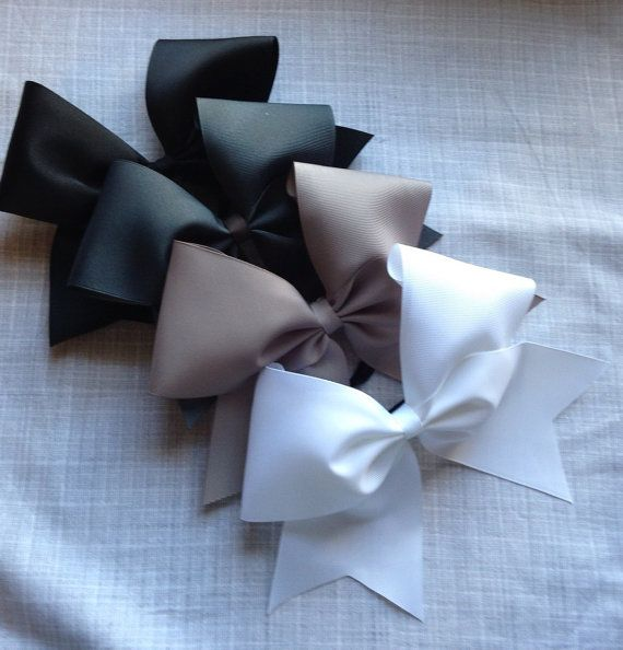 Cheer Bow black white silver gray solid plain by AnnieMaeandWes