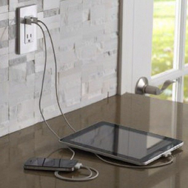 Leviton USB Outlet for all your devices! Plug your iPad and iPhone directly into…