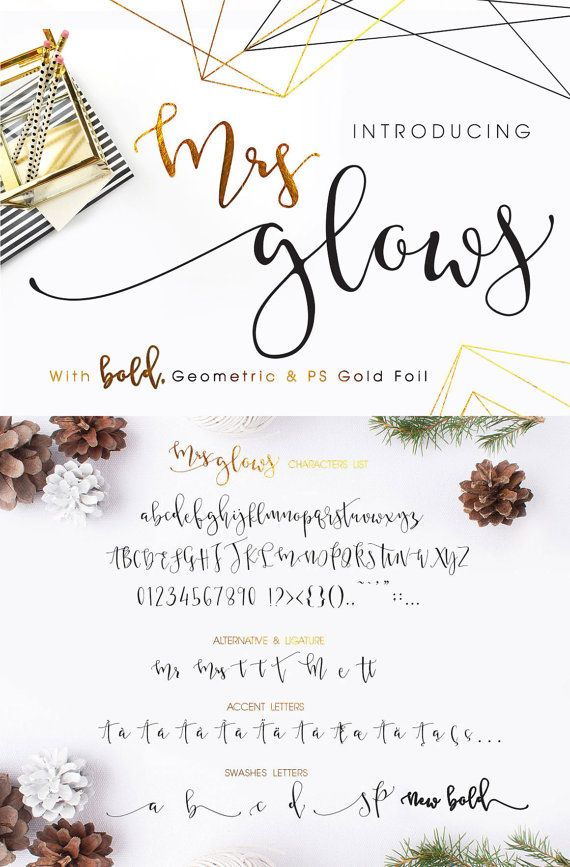 Hello Creative Etsians! Introducing my latest font with extras, Mrs Glows. Beautiful Bouncy and little wild, calligraphy font with swashes, with