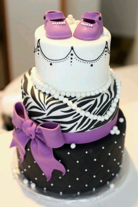 Purple, Black, And White Baby Shower Cake For A Little Girl. This Cake Is  So Adorable! I Like The Idea Of Using Purple Instead Of Pink.
