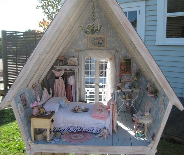 A miniature shabby chic bedroom by Liberty Biberty from New Zealand. This was all handmade by her & friends and she sewed the tiny clothes herself! Fantastic.