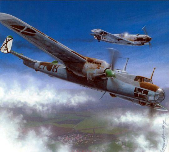 Dornier 17 and escorting Bf 109 SCW