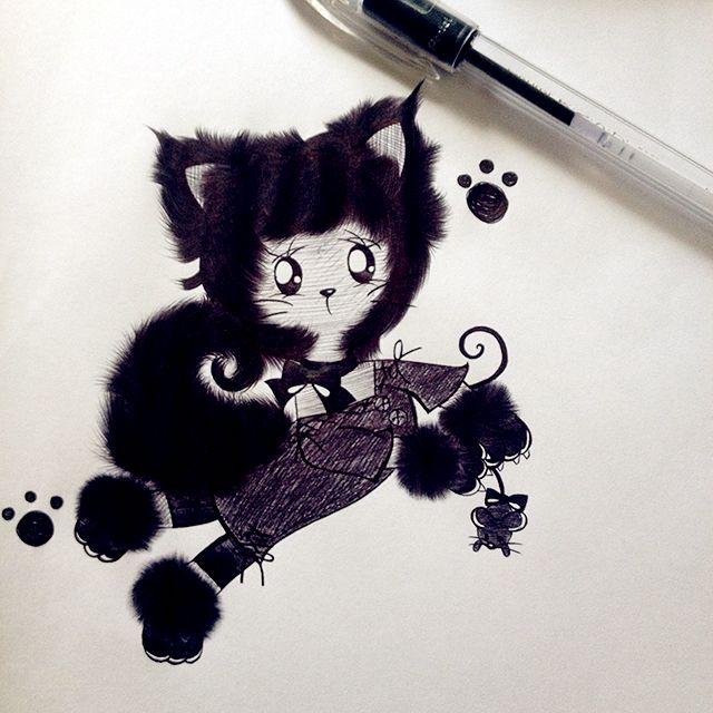Black Cat  #neko #blackcat #onlypen #chibineko #chibi #drawing #desenho #fanart #gatinho @luamiki
