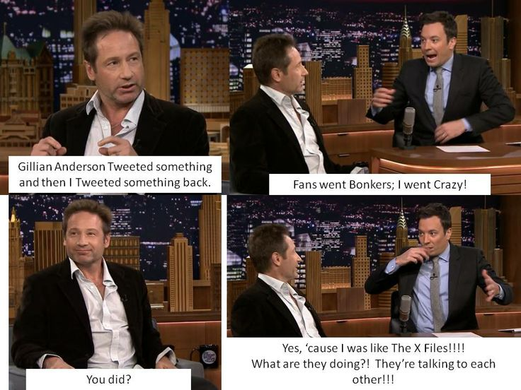 David Duchovny and Jimmy Fallon on the Tweets between Gillian Anderson and David Duchovny <3