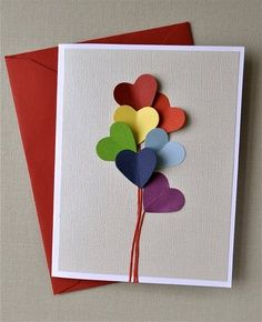 Love is in the air, rainbow heart balloon, blank card. Valentines, anniversaryâ?¦