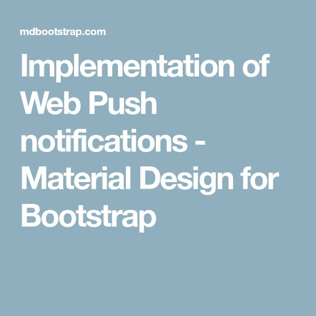 Implementation of Web Push notifications - Material Design for Bootstrap
