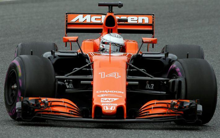 Descargar fondos de pantalla Fernando Alonso, McLaren MCL32, Fórmula 1, McLaren F1, carreras de coches